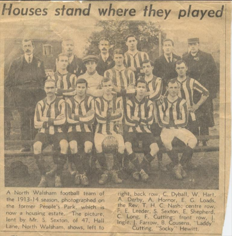 Photograph. North Walsham Football Team of the 1913 to 1914 season. (North Walsham Archive).