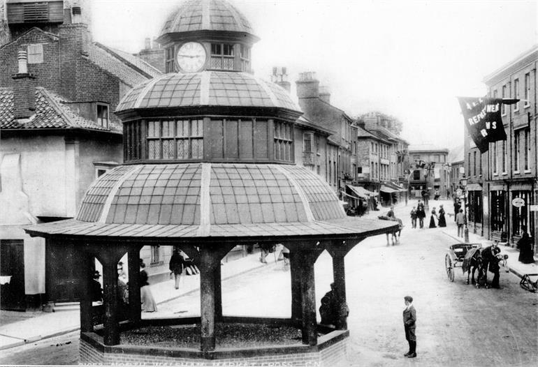 Photograph. North Walsham Market Cross and Market Place 1900 (North Walsham Archive).