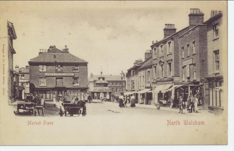 Photograph. North Walsham Market Place in 1890's (North Walsham Archive).