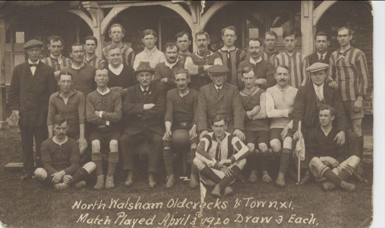 Photograph. North Walsham Oldcrocks and Town Football Teams. (North Walsham Archive).