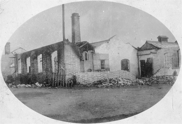 Photograph. North Walsham Steam Laundry after the fire of 1906 (North Walsham Archive).