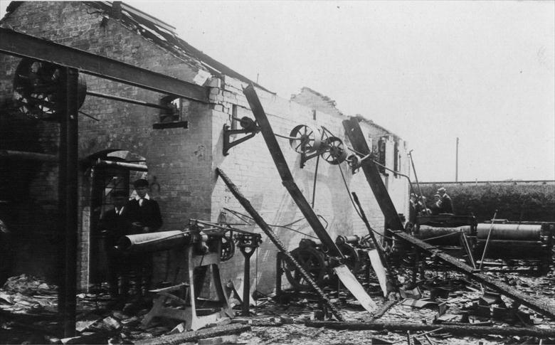 Photograph. North Walsham Steam Laundry, Laundry Loke, after the fire of 1906 (North Walsham Archive).