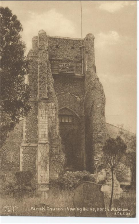 Parish church of North Walsham, showing the ruined tower.