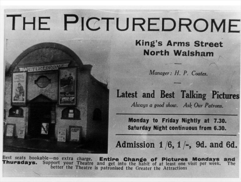 Photograph. The Picture Drome, Kings Arms Street, North Walsham. (North Walsham Archive).