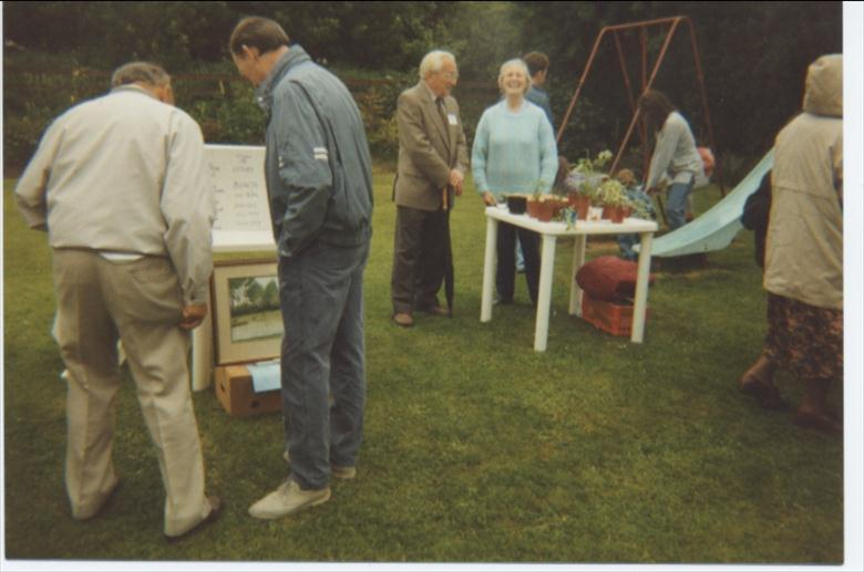 Photograph. Raising money for the developement of North Walsham Bluebell Pond. (North Walsham Archive).