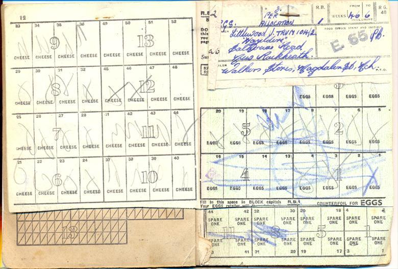 Photograph. Ration book (North Walsham Archive).