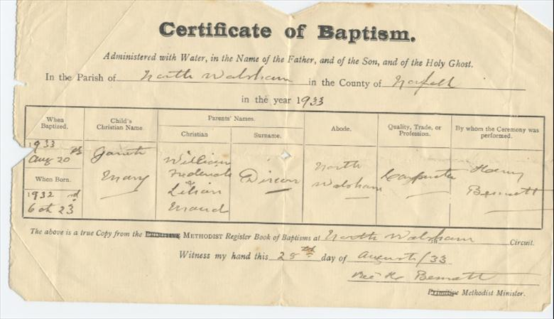 Photograph. Record of Baptism in Methodist Church Grammar School Road, North Walsham. Notice the word Primitive has been crossed out after the amalgamation of the Primitive Methodists with the Wesleyans. (North Walsham Archive).