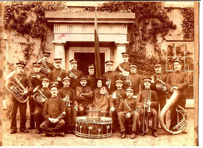 Photograph. Salvation Army Band, 1902. Outside Beech Grove (North Walsham Archive).