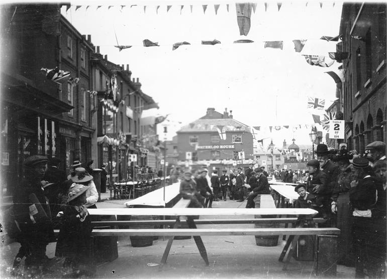Photograph. Setting up for the King George V Coronation celebrations 1911. (North Walsham Archive).