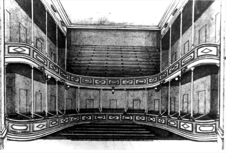 Photograph. Sketch showing auditorium of Fisher's Theatre, North Walsham (North Walsham Archive).