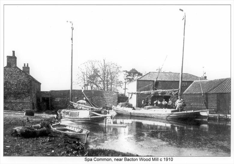 Photograph. Spa Common Staithe, North Walsham, near Bacton Wood Mill (North Walsham Archive).