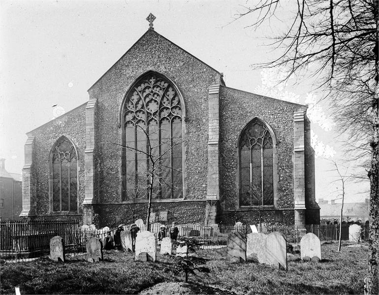 Photograph. St Nicholas' Church in early 1900s viewed from the east. (North Walsham Archive).