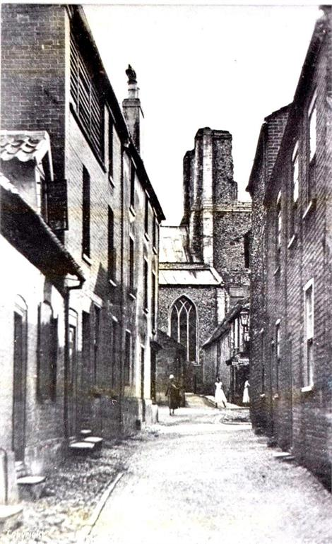 Photograph. St Nicholas' Church from North Street (North Walsham Archive).