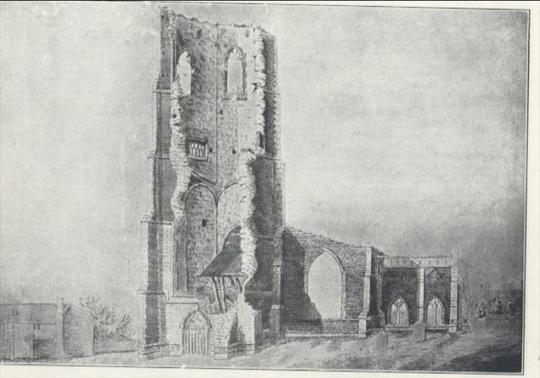 St Nicholas' Church Tower after 1724 but before a second fall in 1835