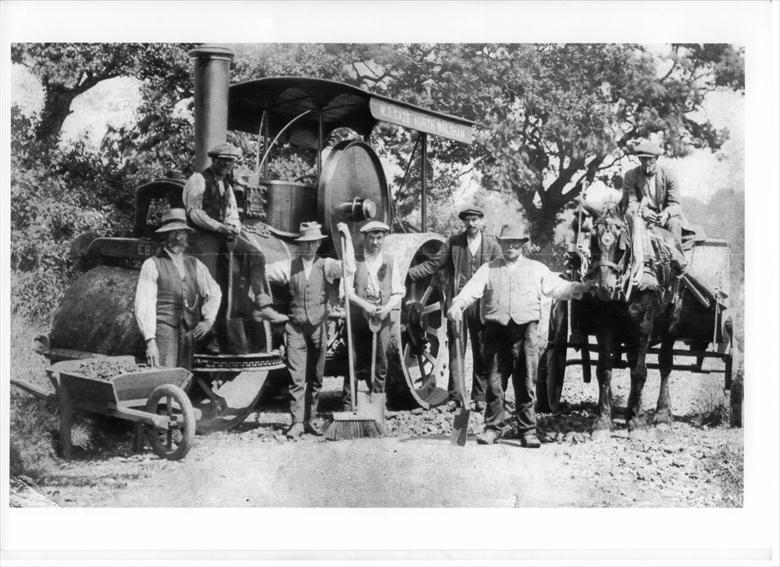Photograph. Steam Roller Team of W.B.Gaze, Ltd, Bacton Road. (North Walsham Archive).