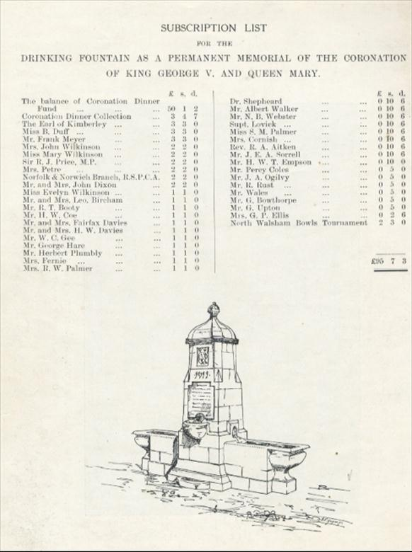 Photograph. Subcription list and designer's sketch for Drinking Fountain. (North Walsham Archive).