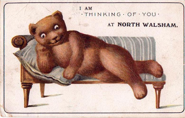 Photograph. Teddy Bear postcard from North Walsham (North Walsham Archive).
