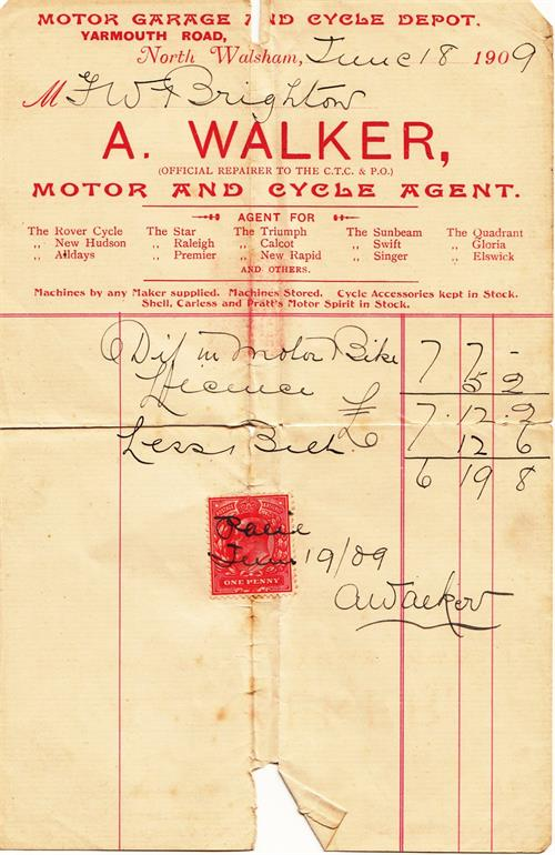 Photograph. A Walker Invoice (North Walsham Archive).