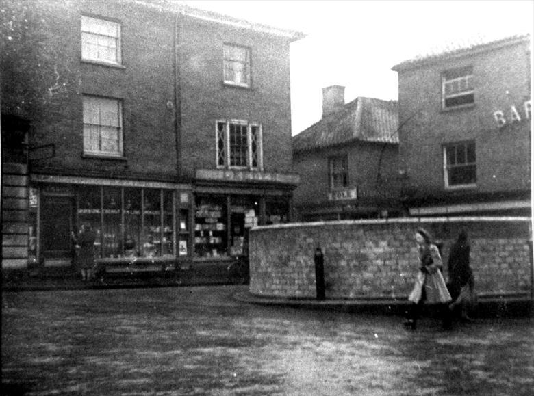 Photograph. Wartime market place, North Walsham (North Walsham Archive).