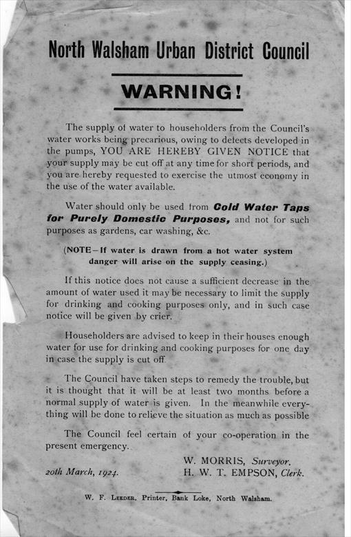 Photograph. Water quality notice (North Walsham Archive).