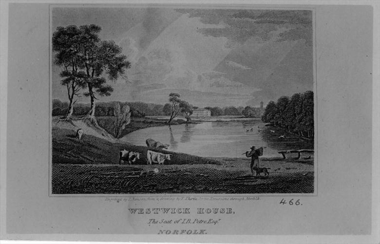 "Photograph. Westwick Hall. Engraving by T.Ranson, from a drawing by T.Thirtle, for ""Excursions Through Norfolk"" by Thomas Cromwell & John Sell Cotman. (North Walsham Archive)."